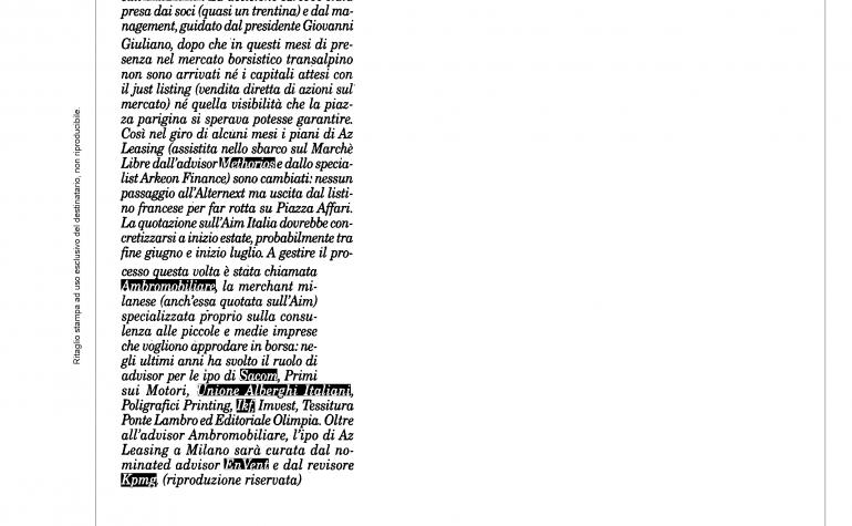 Milano Finanza 27 aprile 2013