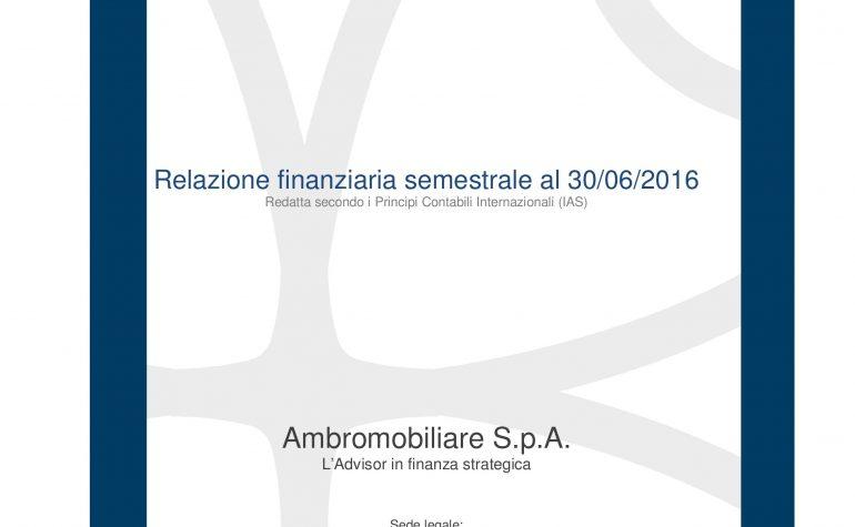 Relazione finanziaria semestrale al 30.06.2016