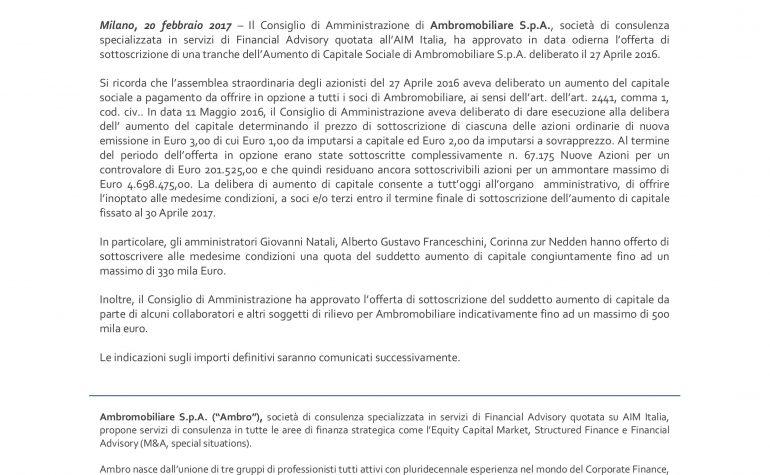 Comunicato Stampa CdA approva l'offerta di sottoscrizione di una tranche dell'Aumento di Capitale deliberato il 27 Aprile 2016