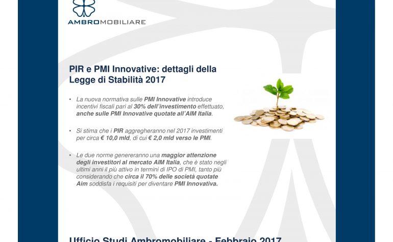 PIR e PMI Innovative: dettagli della Legge di Stabilità 2017