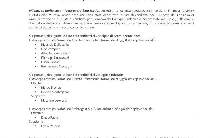 Deposito delle liste dei candidati per le nomine del Consiglio di Amministrazione e del Collegio Sindacale di Ambromobiliare S.p.A.