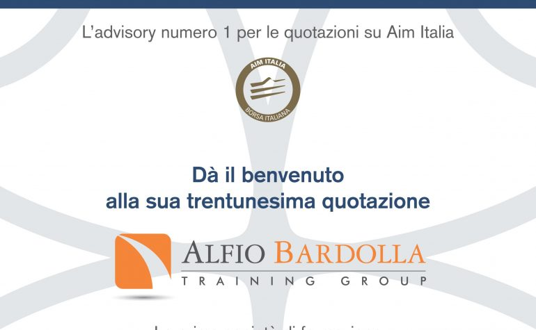 Pagina pubblicitaria per il 1° giorno di negoziazione di ABTG pubblicato su Milano Finanza del 28 luglio 2017