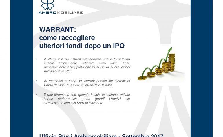 Ufficio Studi Ambromobiliare – Warrant: come raccogliere ulteriori fondi dopo l'IPO