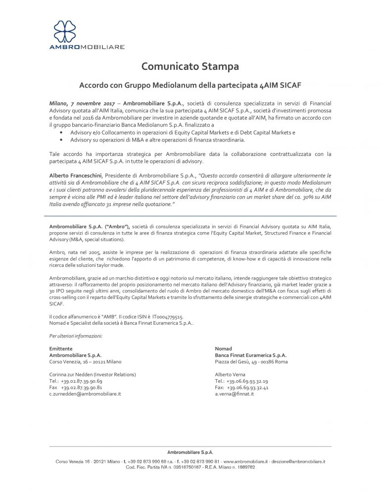 Accordo con il Gruppo Mediolanum della partecipata 4AIM SICAF