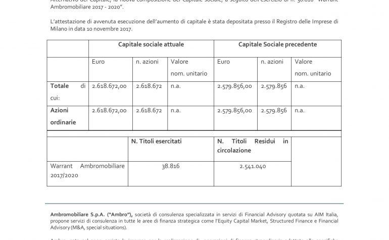 Variazione del Capitale sociale