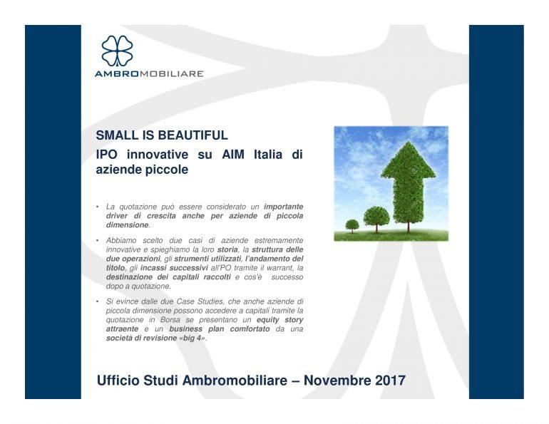 Ufficio Studi Ambromobiliare – Small is beautiful – IPO innovative di aziende piccole