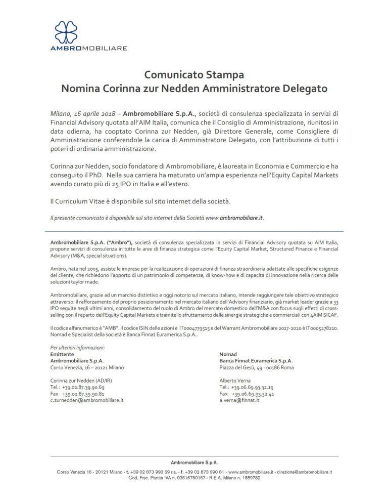 Nomina Corinna zur Nedden Amministratore Delegato
