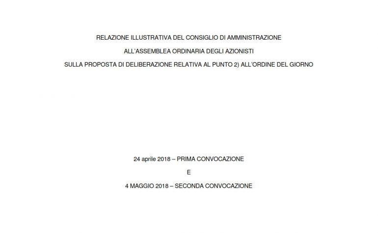 Relazione illustrativa degli amministratori punto 2 ordine del giorno