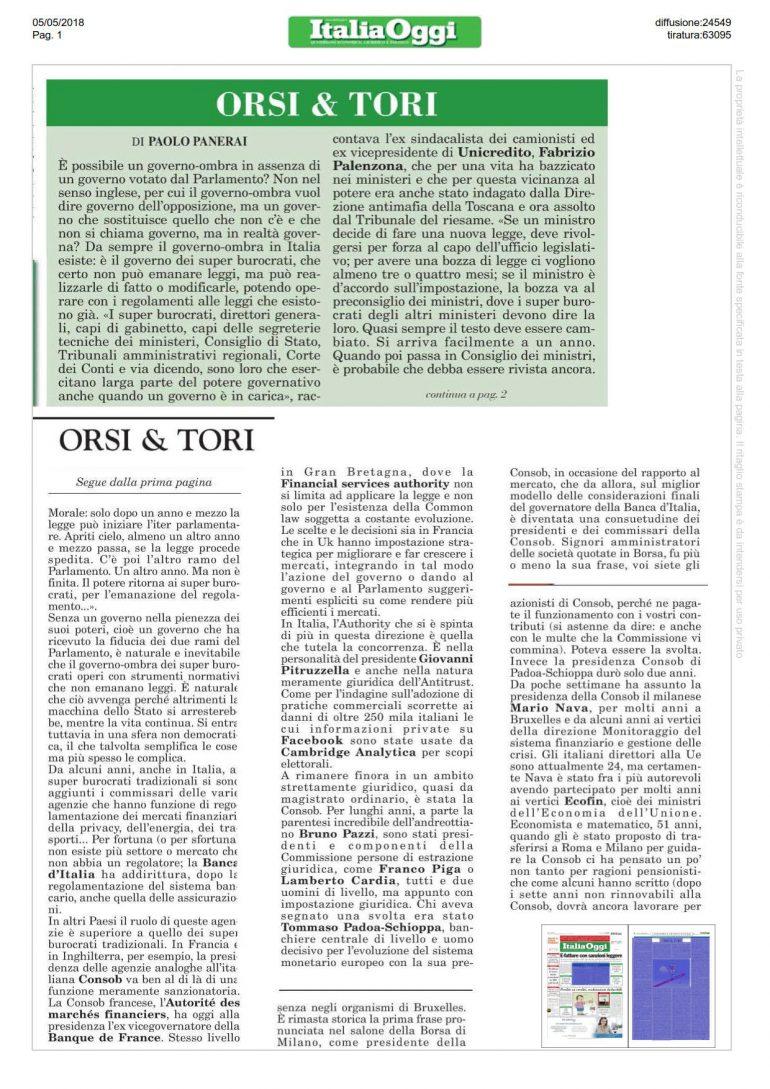 Italia Oggi 5 maggio 2018