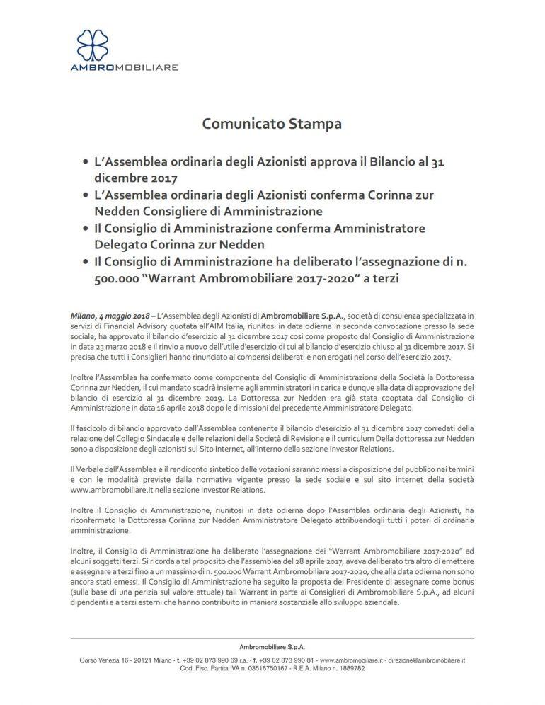 Assemblea ordinaria approva Bilancio al 31 dicembre 2017
