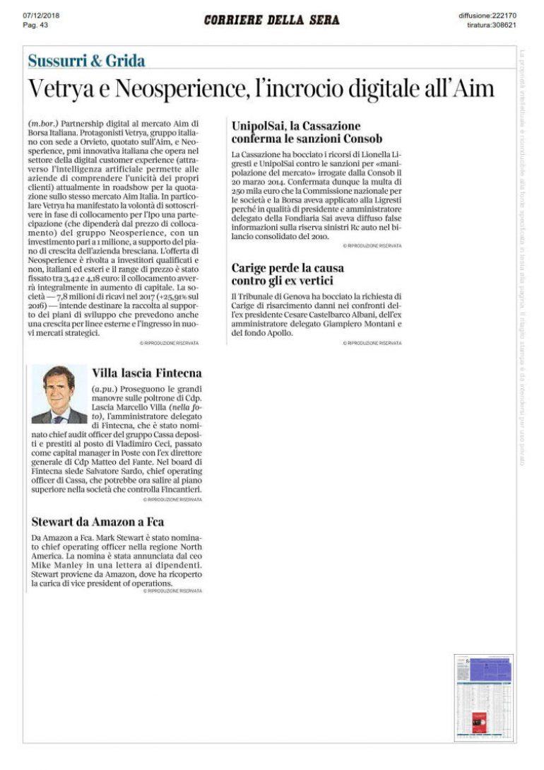 Corriere della Sera 8 dicembre 2018