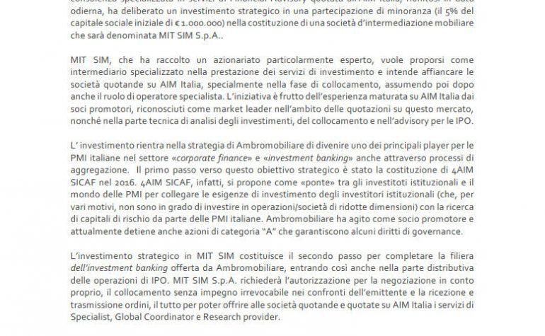 Investimento strategico in MIT SIM