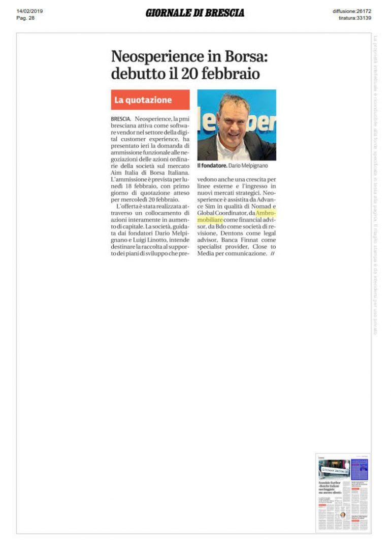 Giornale di Brescia 14 febbraio 2019