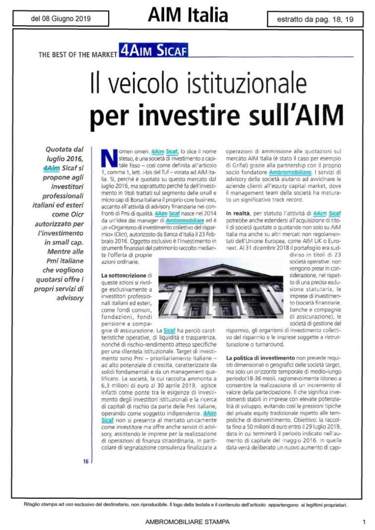 AIM Italia 8 giugno 2019
