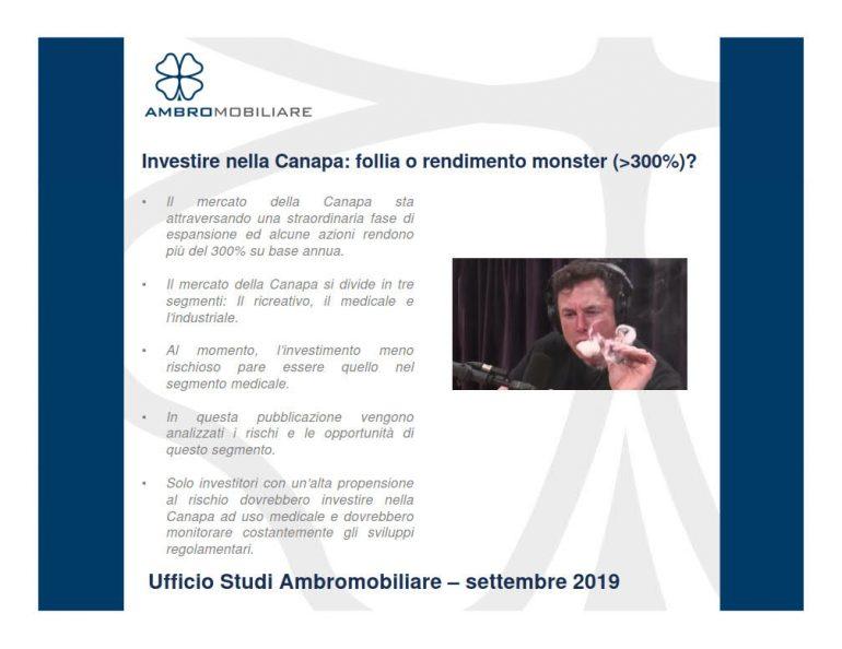 Ufficio studi Ambromobiliare – Investimento nella Canapa: follia o rendimento monster?