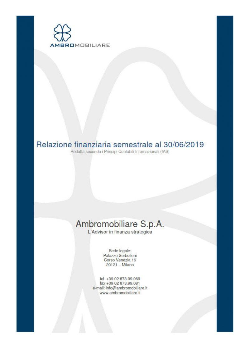 Relazione finanziaria semestrale al 30 giugno 2019