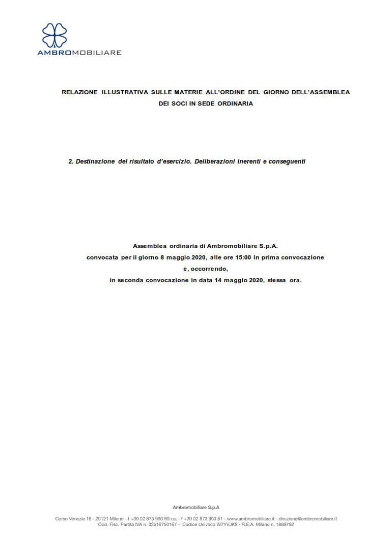 Relazione illustrativa per la Destinazione degli Utili