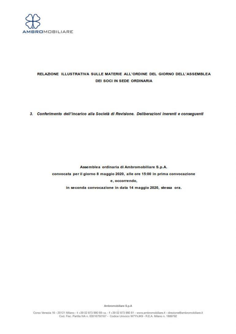Relazione illustrativa per l'Incarico della Società di revisione
