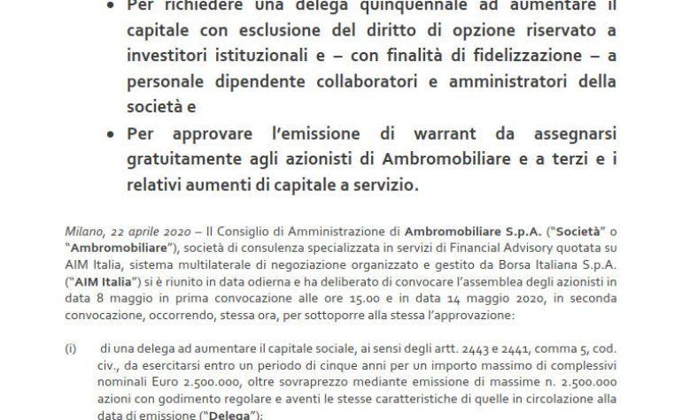 CdA convoca azionisti per emissione di Nuovi Warrant e delega per aumento di capitale