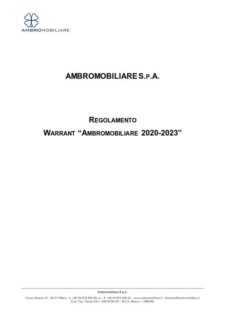 Regolamento Warrant Ambromobiliare 2020-2023