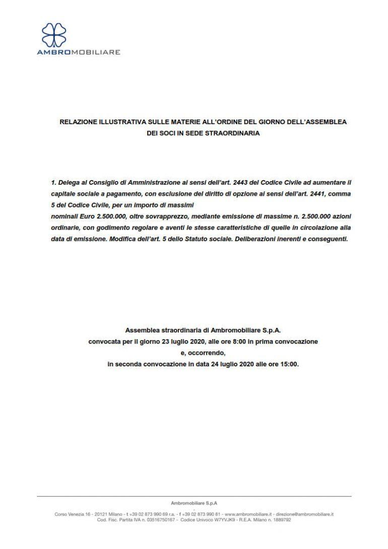 Relazione illustrativa per l'assemblea straordinaria (1.)