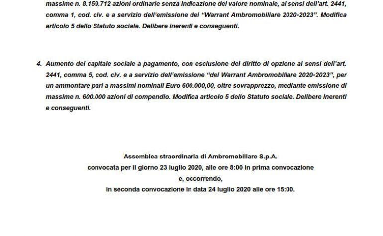 Relazione illustrativa per l'assemblea straordinaria (3. e 4.)