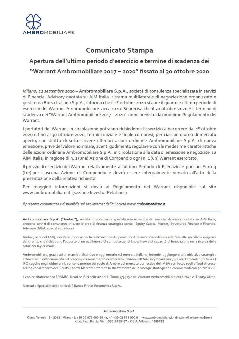 Ultimo periodo d'esercizio Warrant Ambro 2017-2020