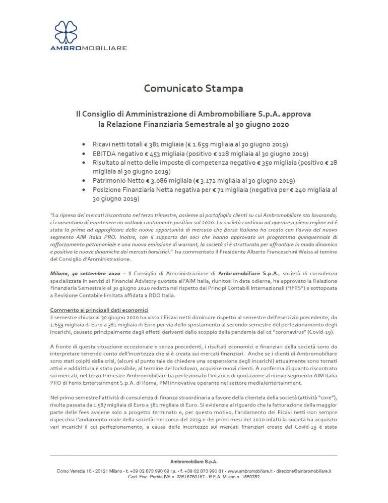 CdA approva relazione semestrale al 30 giugno 2020