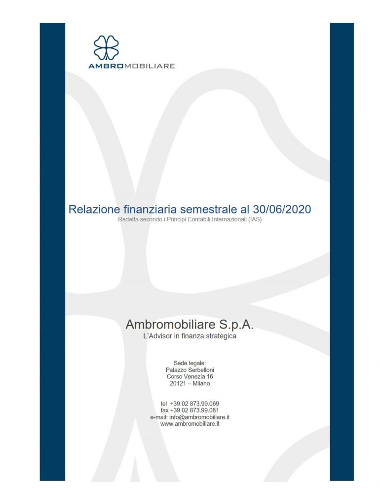 Relazione semestrale al 30 giugno 2020