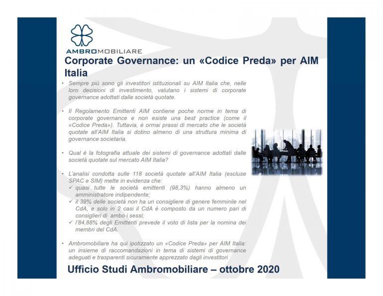 Pubblicazione Ufficio Studi Ambromobiliare – Corporate Governance su AIM