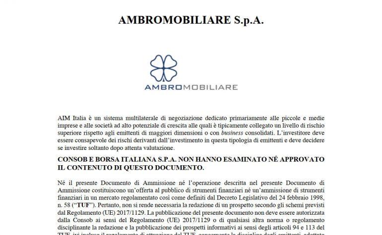 Documento di Ammissione Warrant Ambromobiliare 2020-2023