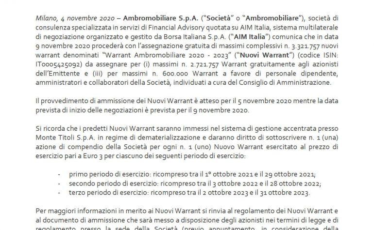 Assegnazione Warrant 2020-2023