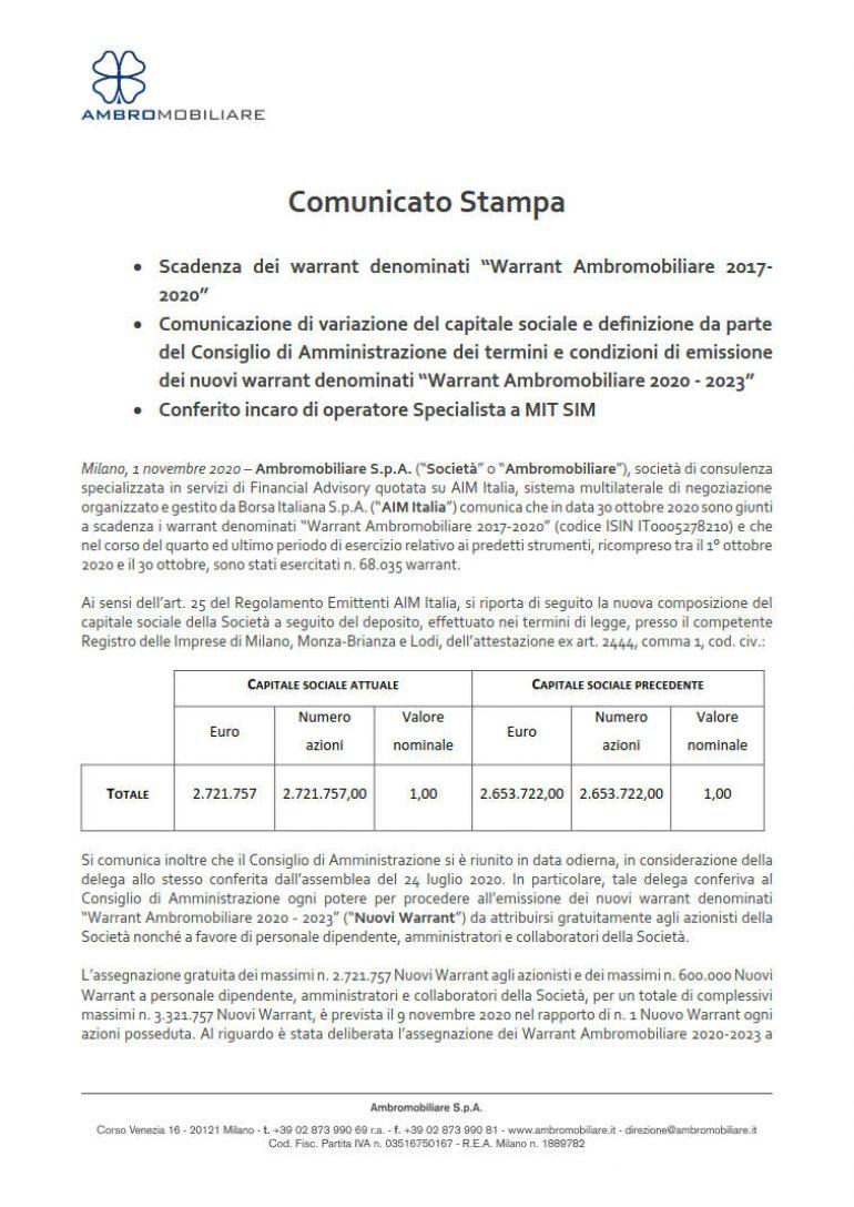 Comunicazione variazione capitale sociale ed al.