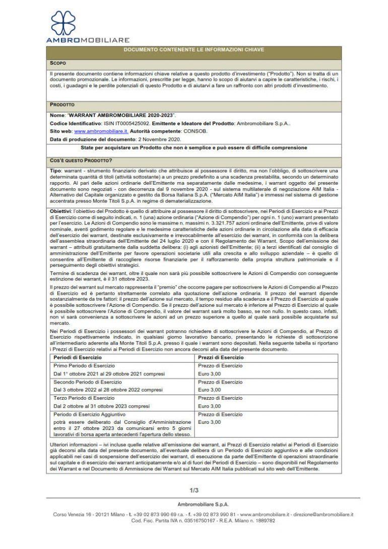 KID Warrant Ambromobiliare 2020-2023