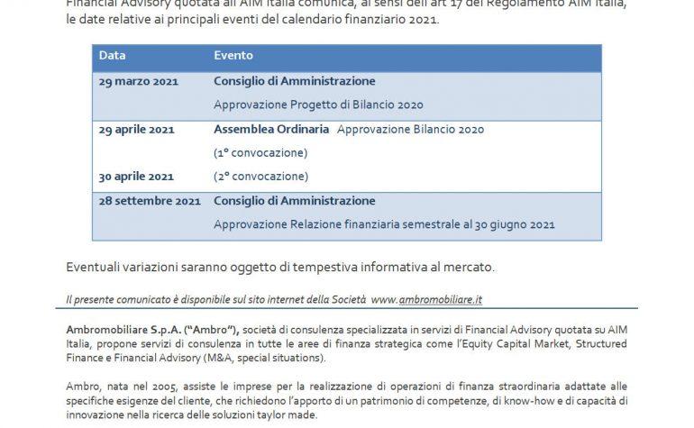Calendario finanziario 2021