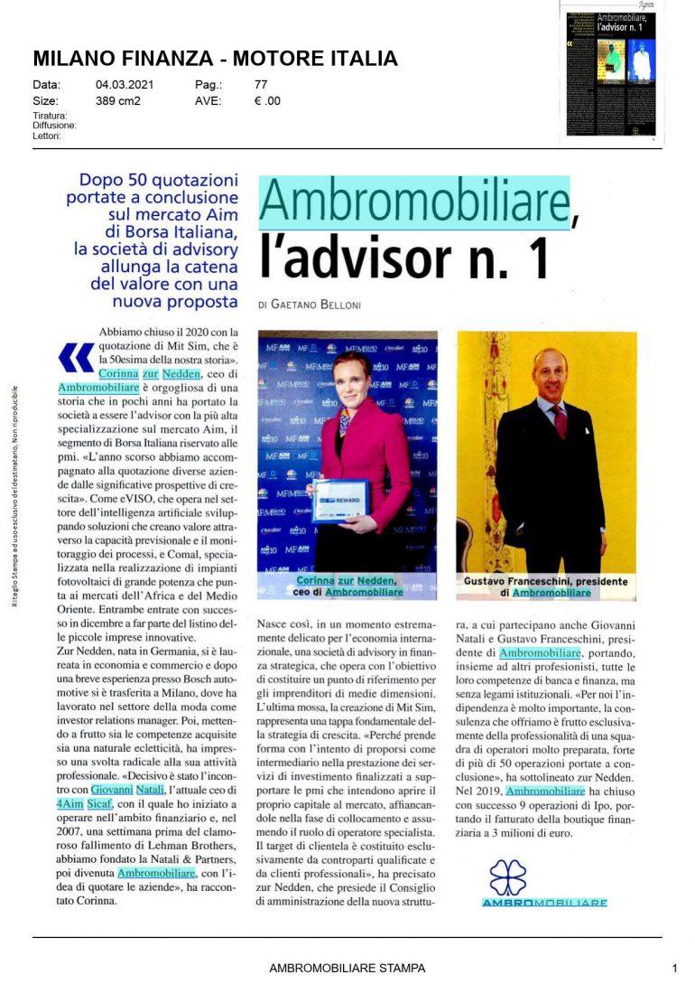 Milano Finanza 4 marzo 2021