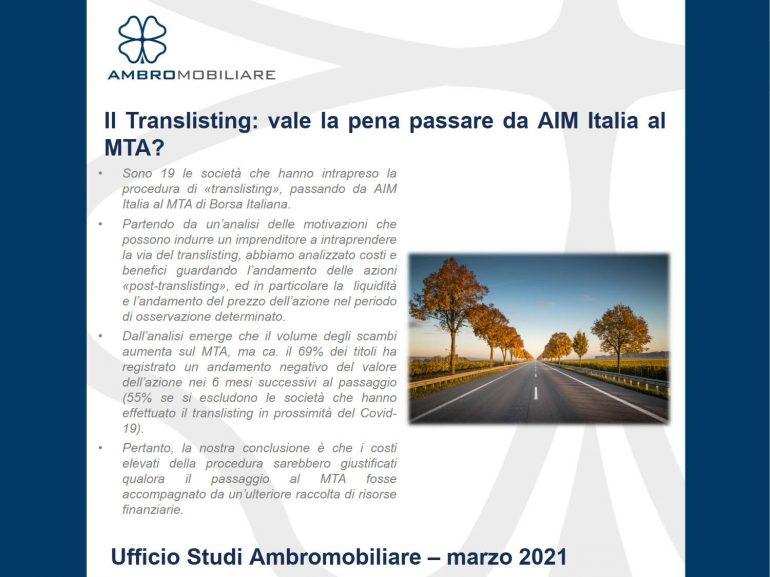 Aggiornamento marzo 2021: Pubblicazione Translisting