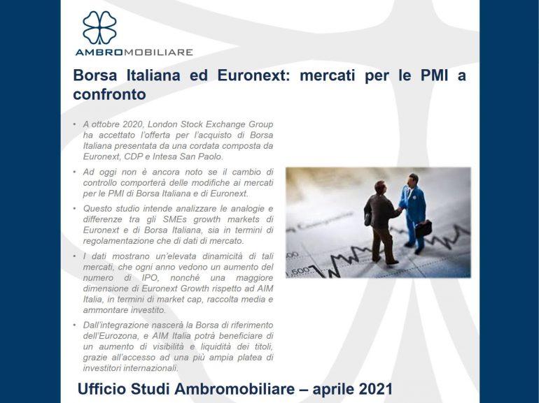 Borsa Italiana ed Euronext – mercati per la PMI a confronto – aggiornamento ad aprile 2021