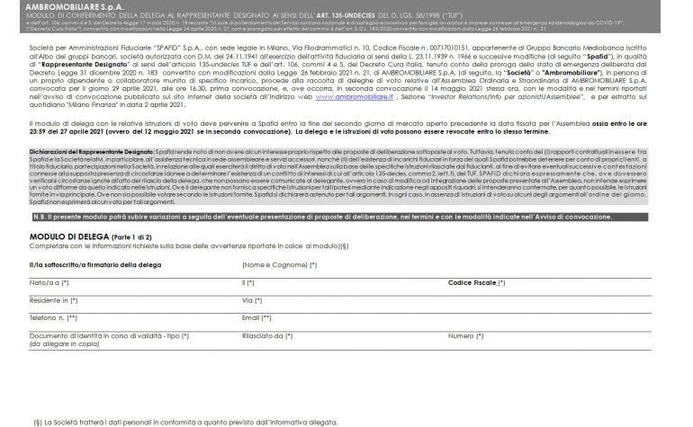 Modulo delega ex art 135-undecies
