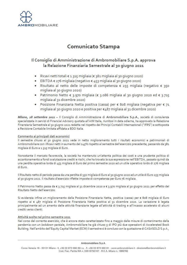 CdA approva relazione finanziaria semestrale al 30 giugno 2021