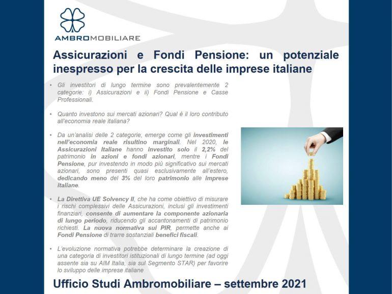 Assicurazioni e Fondi Pensione – Aggiornamento settembre 2021